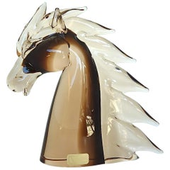 Signed Nason & Moretti Horse Head Sculpture Brown Clear Murano Art Glass Italy