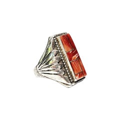 Signed Native American Sterling Silver Spiny Oyster Inlay Men's Ring