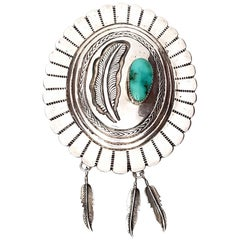Signed Native American Sterling Silver Turquoise Concho Bolo Tie 'No Leather'