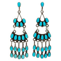 Signed Native American Zuni Silver and Turquoise Chandelier Earrings