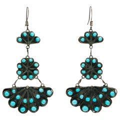 Signed Native American Zuni Silver and Turquoise Fan Motif Earrings