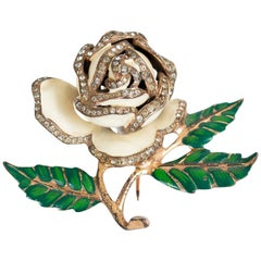 Signed Nettie Rosenstein Ivory and Green Enamel Rose Gold Vermeil Fur Pin, 1950s
