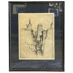 Signed New York City Black & White Cityscape Skyline Etching, 19th-20th Century
