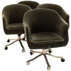 Signed Nicos Zographos Mohair Midcentury Armchairs, Set of 4