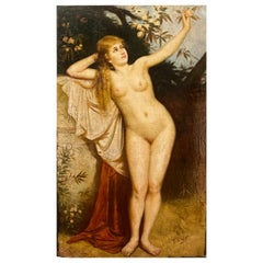Signed Nude Painting Signed Anton Katzer