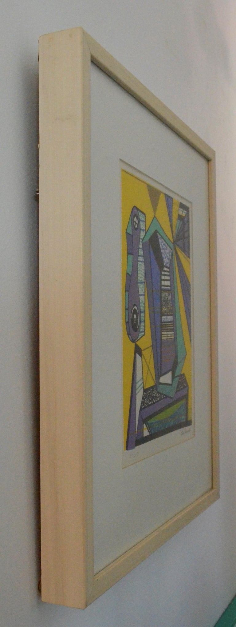 Abstract Modernist Leo Russell Graphic Print in Yellow, Purple, Black and Gray For Sale 11