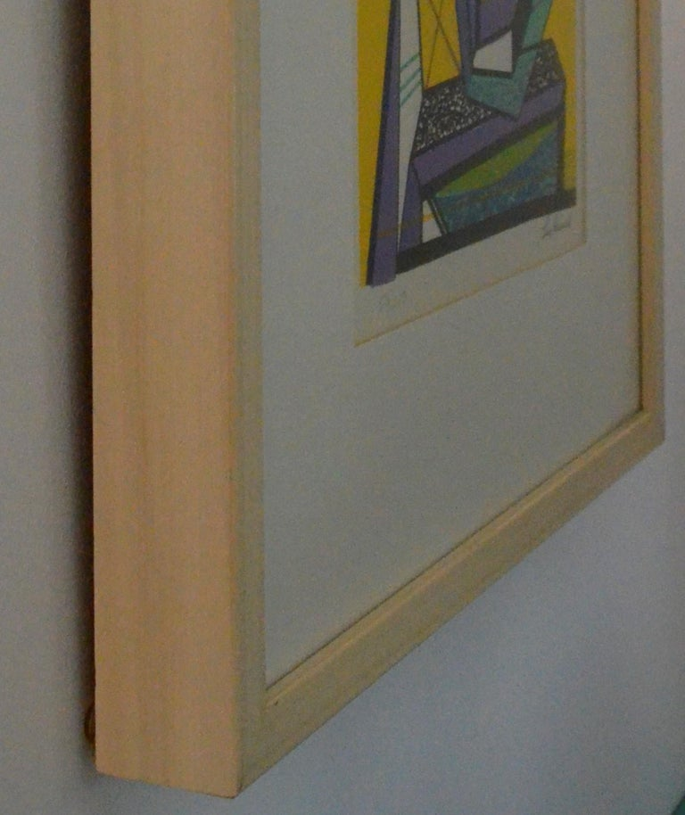 Abstract Modernist Leo Russell Graphic Print in Yellow, Purple, Black and Gray For Sale 10