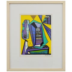 Signed and Numbered Framed Leo Russell Modernist Abstract Graphic Print