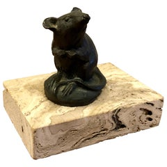 Signed and Numbered Original Bronze Mouse Sculpture by Artist Siggy Puchta