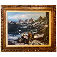Signed Oil on Canvas by Edward Garbely Harbor Scene