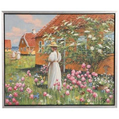 Signed Oil on Canvas Painting of Young Woman In a Flower Garden