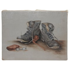 Signed Oil Painting of Boots & Glasses