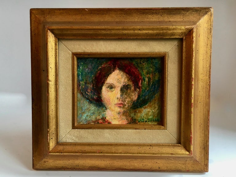 Oil painting of girl in gilt frame - a Lovely little gem signed M. Spiegelman - small and bold and perfectly suited for that special space on your wall or on a stand - for the desk or shelf.  Painting image area: 4.63