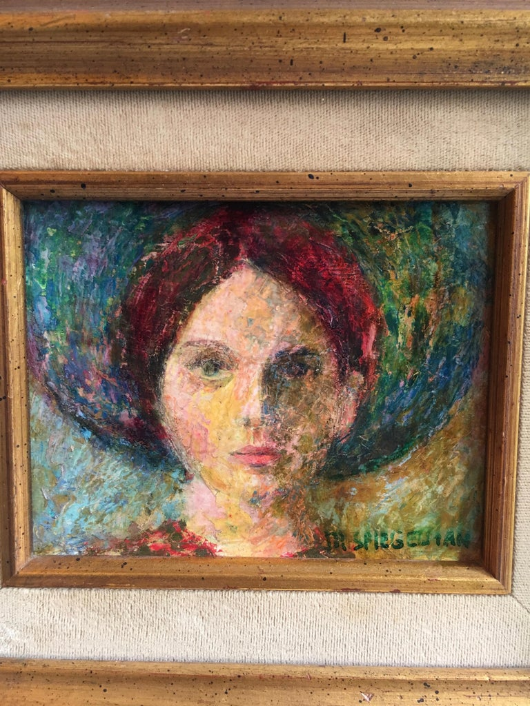 Signed Oil Painting of Girl in Gilt Frame In Good Condition For Sale In Los Angeles, CA
