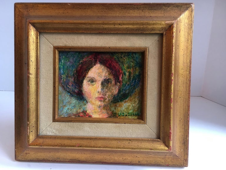 20th Century Signed Oil Painting of Girl in Gilt Frame For Sale