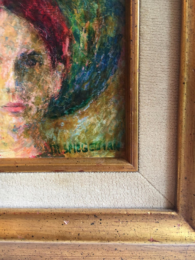 Signed Oil Painting of Girl in Gilt Frame For Sale 1