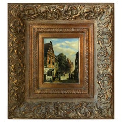 Signed Oil Painting on Board If a 19th Century Dutch Street Scene