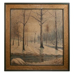 Signed Oil Painting:  Winter Landscape