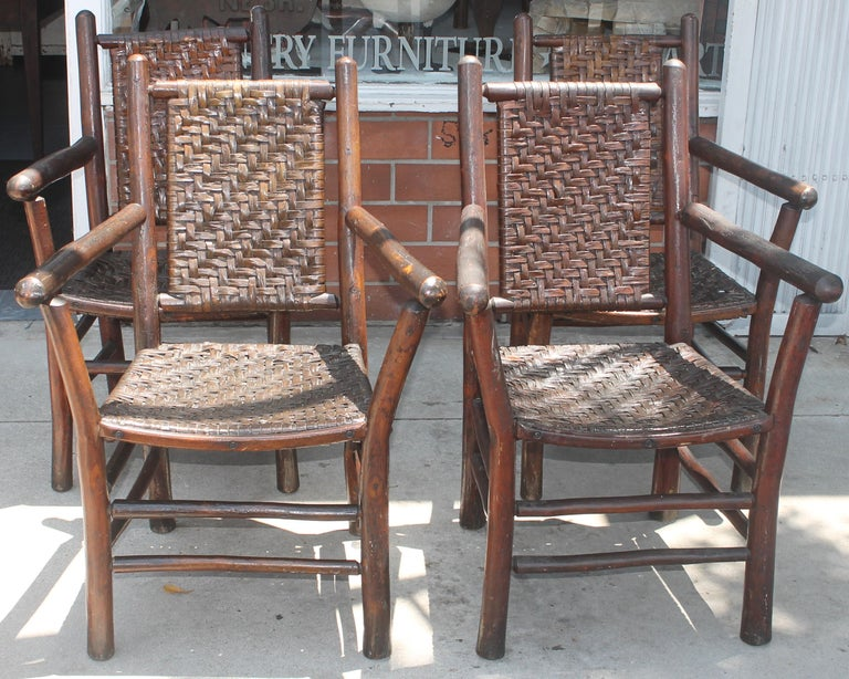 Adirondack Signed Old Hickory Arm Chairs, Set of Four For Sale