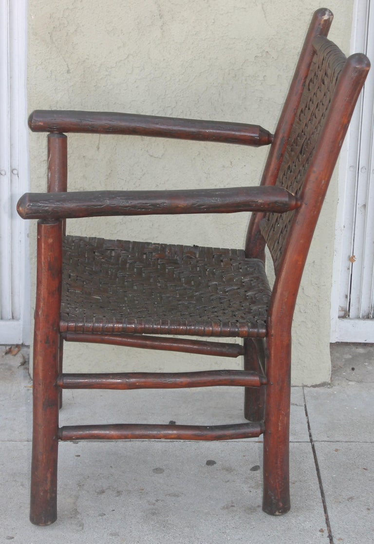 American Signed Old Hickory Arm Chairs, Set of Four For Sale