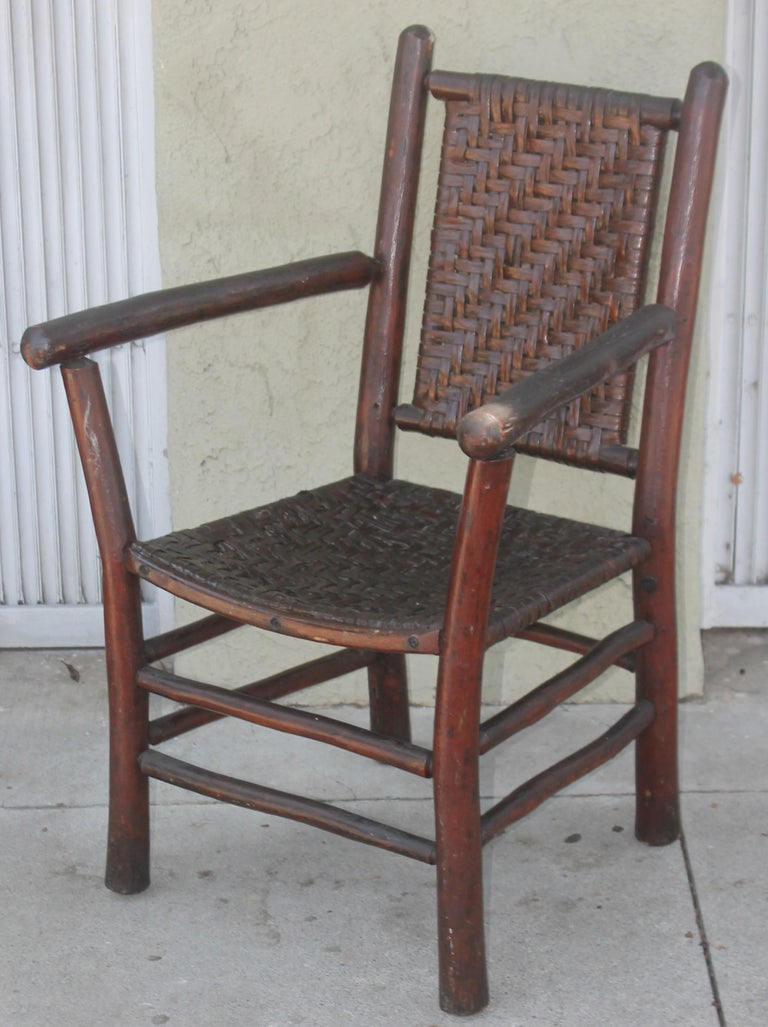 Hand-Crafted Signed Old Hickory Arm Chairs, Set of Four For Sale