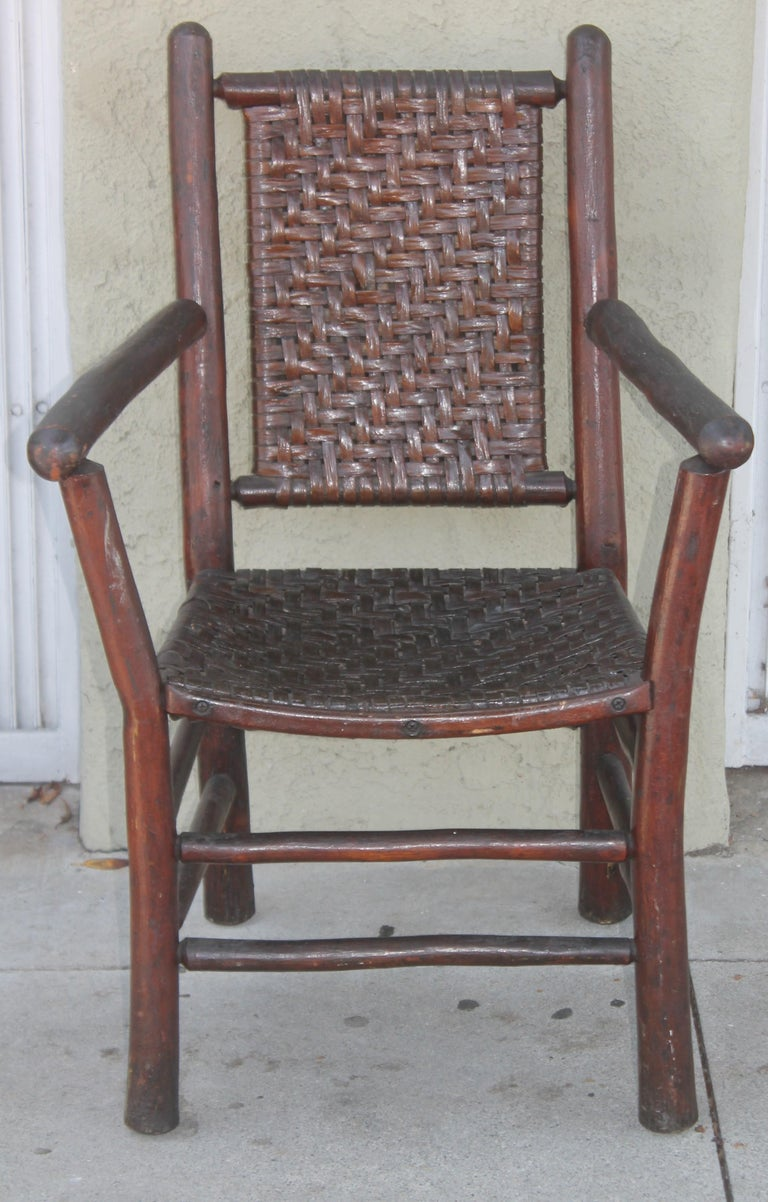 Signed Old Hickory Arm Chairs, Set of Four In Good Condition For Sale In Los Angeles, CA