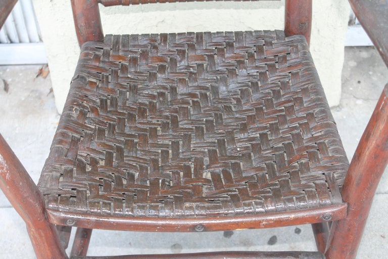 Early 20th Century Signed Old Hickory Arm Chairs, Set of Four For Sale