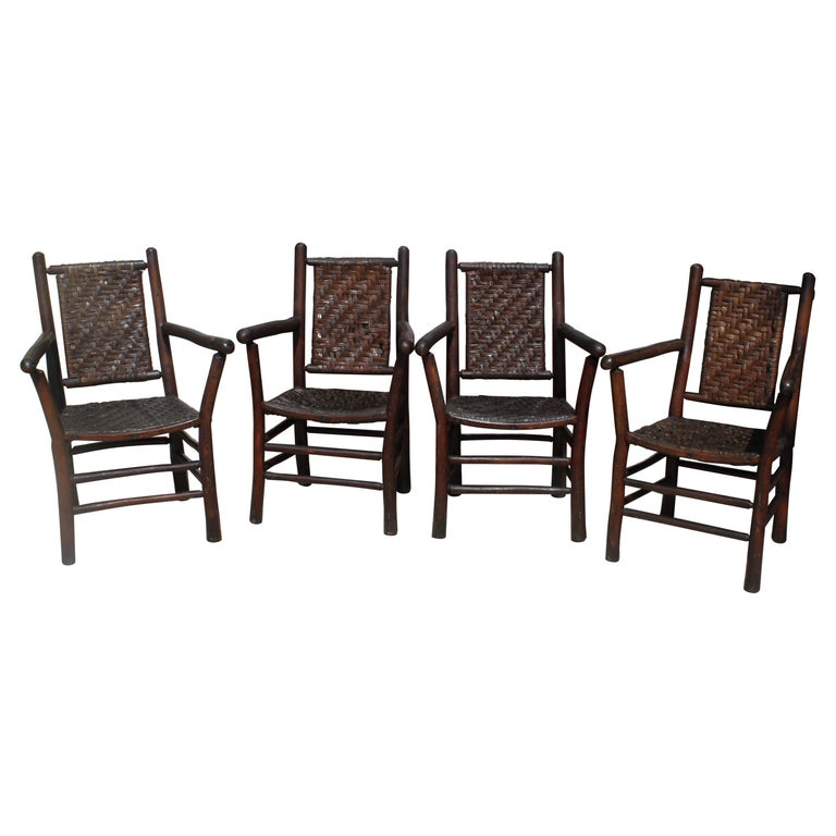 Signed Old Hickory Arm Chairs, Set of Four For Sale