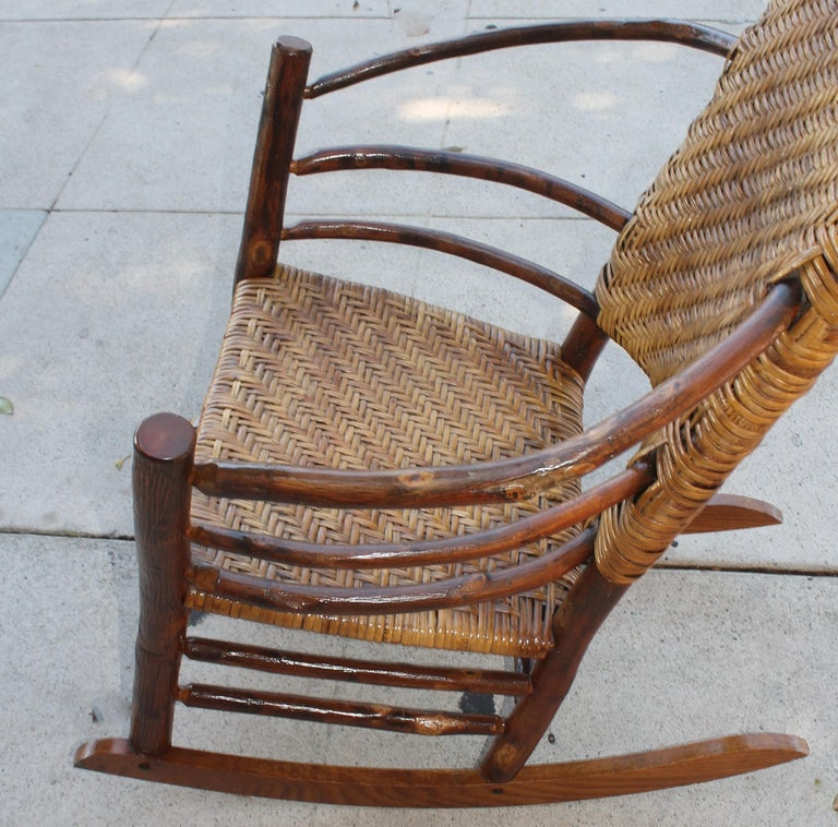 Signed Old Hickory Rocking Chairs, Pair For Sale 2