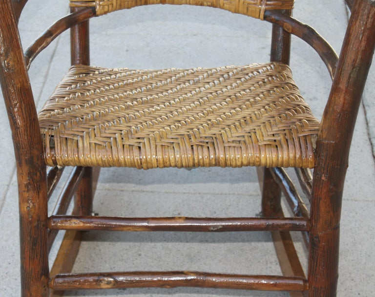 Hand-Crafted Signed Old Hickory Rocking Chairs, Pair For Sale