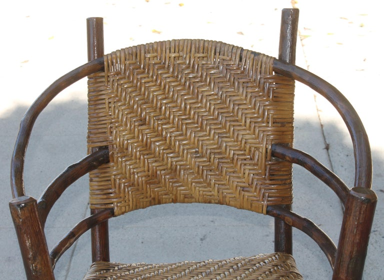Signed Old Hickory Rocking Chairs, Pair In Good Condition For Sale In Los Angeles, CA