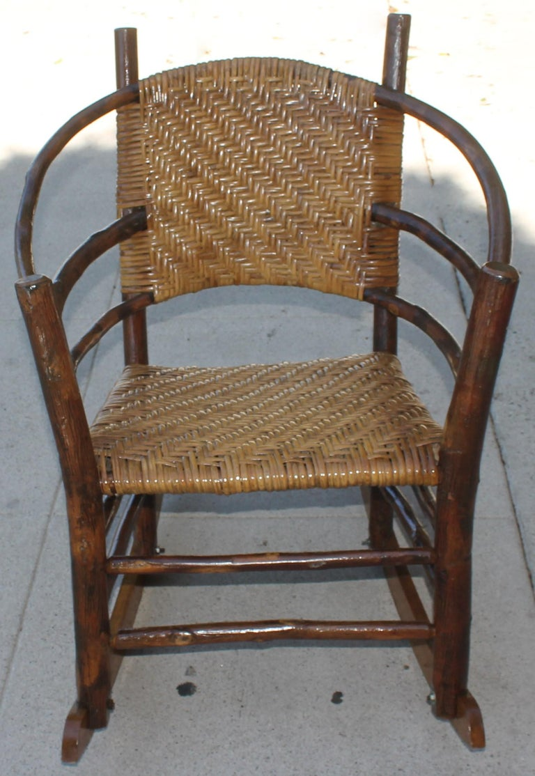 20th Century Signed Old Hickory Rocking Chairs, Pair For Sale