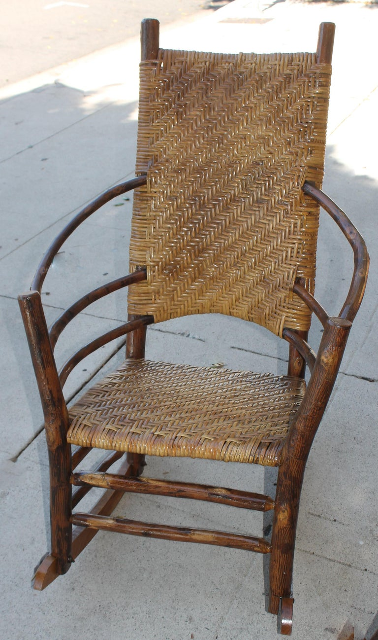 Signed Old Hickory Rocking Chairs, Pair For Sale 1