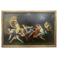 Signed Old Master Style Gilded Frame Painting of Children Playing Dated 1931