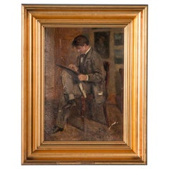Signed Original Antique Danish Oil Painting of a Young Artist