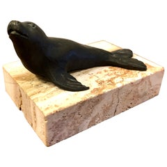 Signed Original Bronze Seal Sculpture by Artist Siggy Puchta