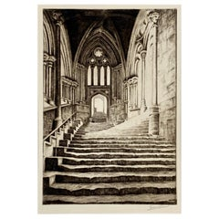 Signed Original Drypoint Etching Chapter House Steps Wells England