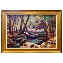 Signed Original Autumn Scenery in Connecticut Oil Painting