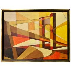 Signed Original Midcentury Abstract Geometric Painting of Brooklyn Bridge