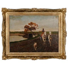 Signed Original Oil on Canvas Painting, Horse and Buggy with Dog, circa 1930