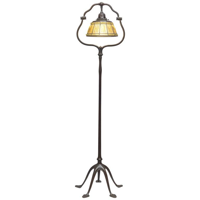 Signed Original Tiffany Studios Harp Style Floor Lamp With Linenfold