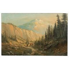 Signed Original Western Oil on Canvas Landscape Painting of Indians on Horseback
