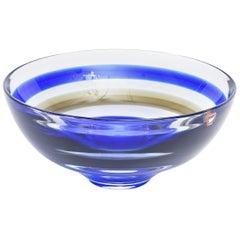 Signed Orrefors Vintage Banded Striped Crystal Glass Bowl