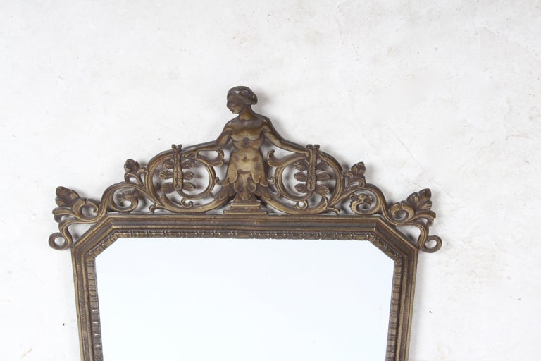 American Signed Oscar Bach Art Deco Bronze Wall Mirror with Nude Female For Sale