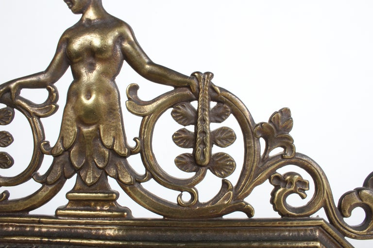 Signed Oscar Bach Art Deco Bronze Wall Mirror with Nude Female For Sale 1