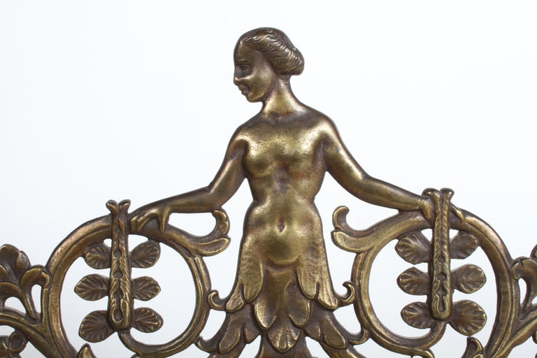 Signed Oscar Bach Art Deco Bronze Wall Mirror with Nude Female For Sale 2