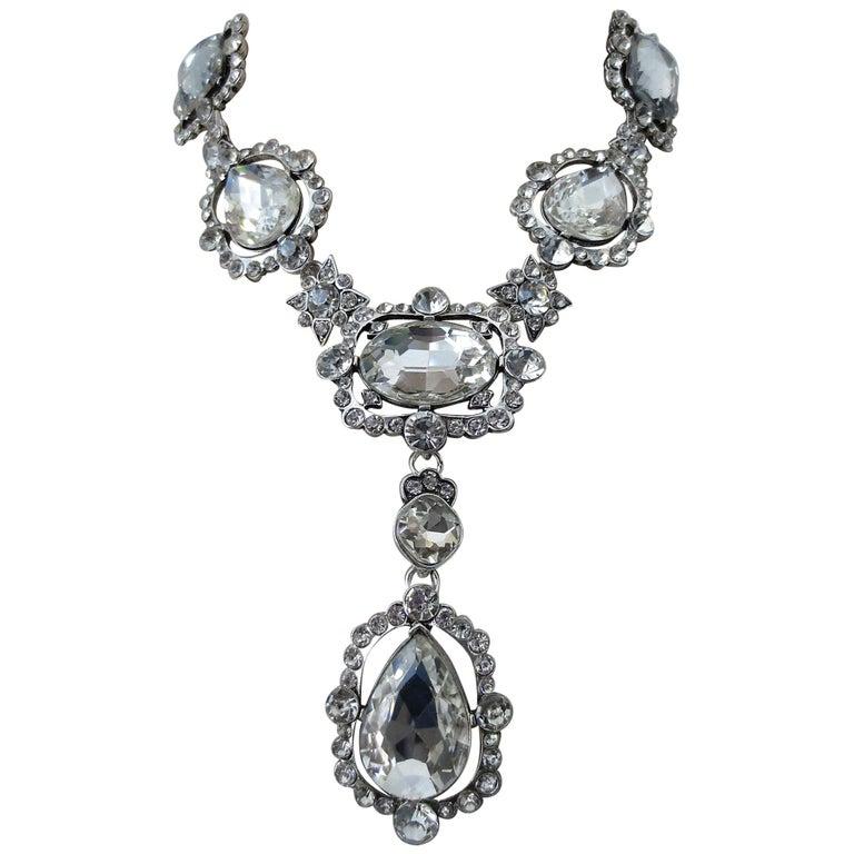 Signed Oscar De La Renta Crystal Estate Statement Necklace For Sale