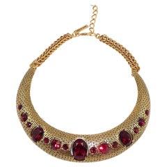 Signed Oscar de La Renta Designer Ruby Red Crystals Golden Choker Necklace