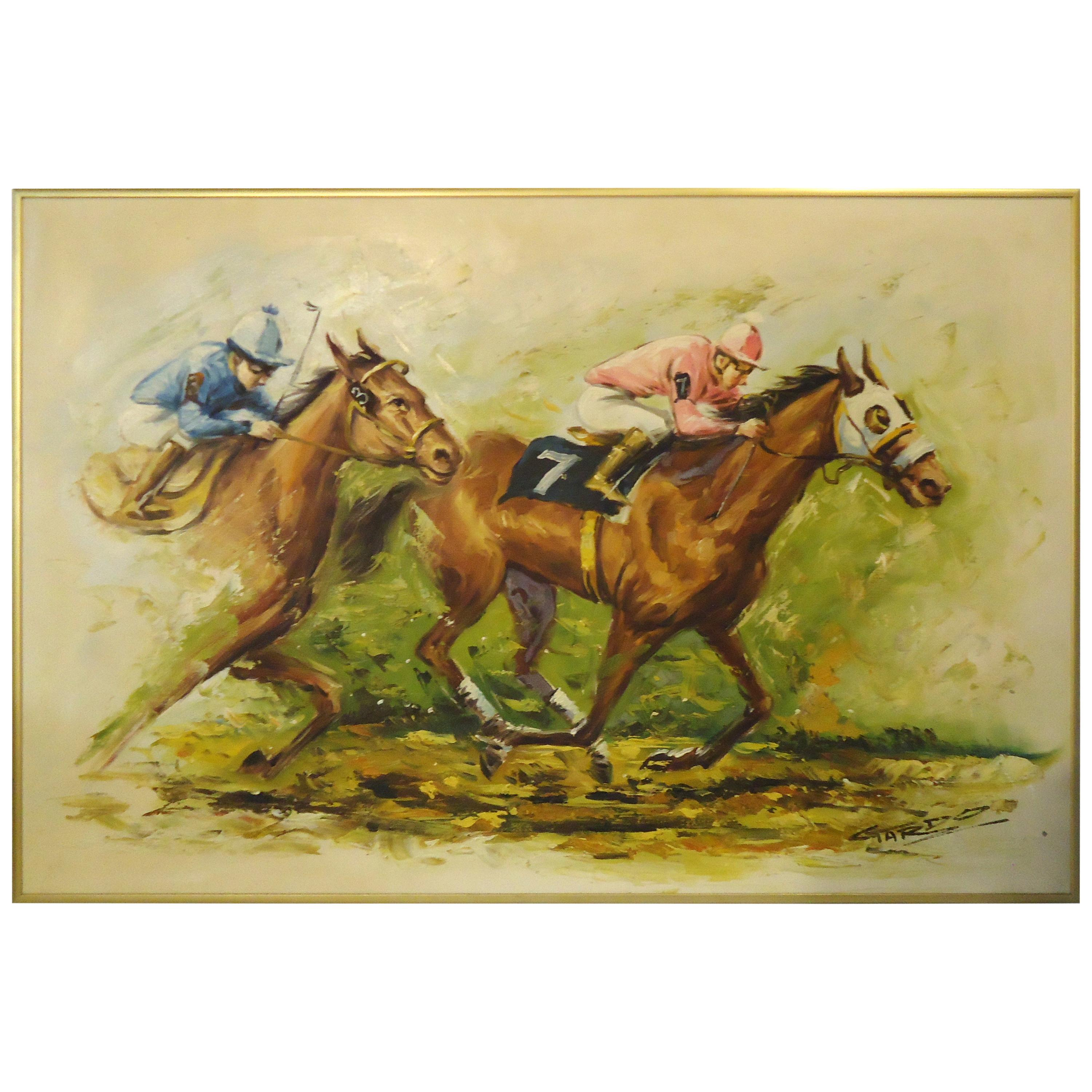 Signed Painting of Horse Race