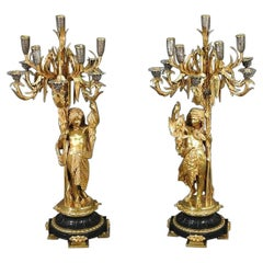 Signed Pair of a. Carrier Belleuse Bronze Figural Candelabras on Slate Bases